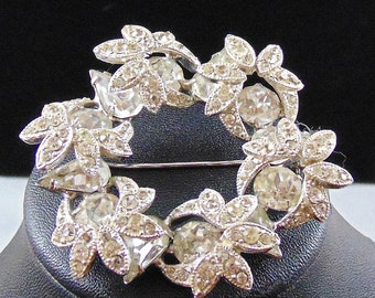 Vintage Signed Eisenberg Clear Rhinestone Floral Wreath Circle Brooch Pin