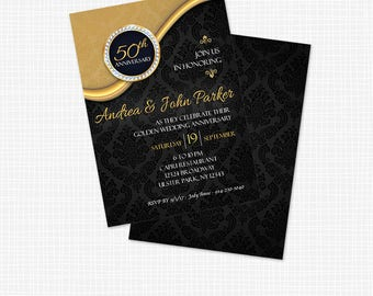 Elegant 50th Anniversary Invitation - Printable