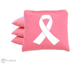 4 Awareness Ribbon Classic Series Cornhole Bags   Corn or All Weather with Color Options