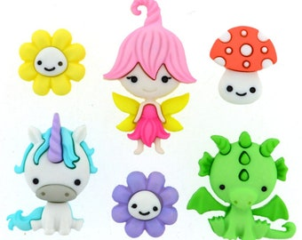 Button Embellishments / UNICORN & FRIENDS / Set of 6 /diy headband/diy hair accessories/hair bows/sewing/scrapbooking/buttons/embellishments