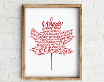 O Canada Art Print, Hand lettered