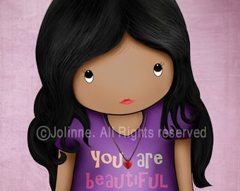African american Dark skin girl art print ,You are beautiful inside and out art, kids wall art, children purple bedroom decor, famous quote