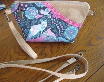 Blue pink tan wristlet or shoulder bag