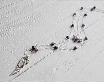 Amethyst necklace, angel wing necklace, double strand necklace, gemstone necklace, crystal necklace, purple necklace, boho necklace