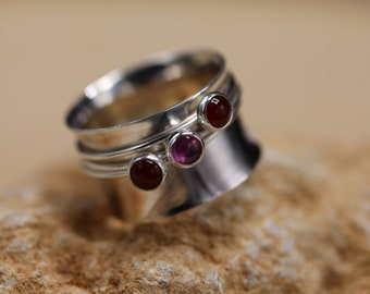 Pink Sapphire & Carnelian Sterling Silver Spinner Ring