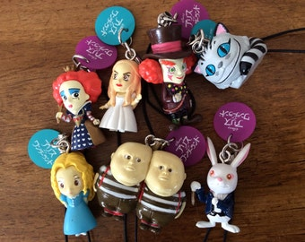 Movie Alice in wonderland figure charms.Select one.Queen Mad hatter Cheshire cat Tweedie and Dam White Rabbit