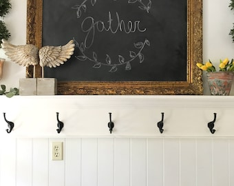 Large Detailed Chalkboard, Gold Framed Black Board, Ornate Gold Frame, Shabby Chic Home, Kitchen Memo Board, Wedding Seating Chart, Menu