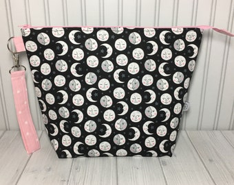 Large Wedge Bag with Handle - Moon Phases