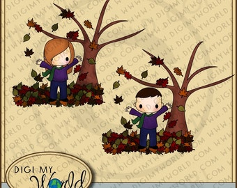 Fall tree leaves autumn boy and girl falling leaves clipart images