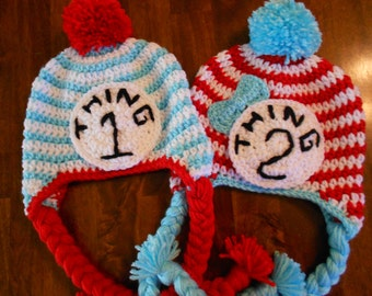 Crochet Thing1 Thing2 Inspired Earflap Hat Set- Newborn to Adult