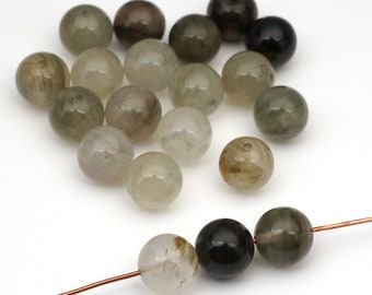20 pcs round aragonite beads, green white brown multicolor stone 10mm