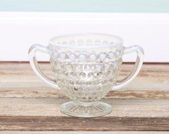 1960s Vintage Glass Hobnail Fenton Double Handle Bowl - White Glass Hombre-Vanity Dish