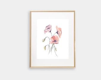 Watercolor Poppies, Watercolor Floral, Watercolor Floral Print