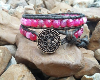 PINK STRIPED AGATE Bracelet, Beaded Leather Wrap Bracelet (Double wrap) button closure, pink stone, jewelry, boho