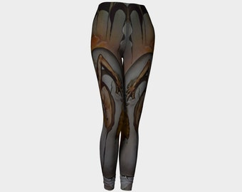 DALI  Leggings  Famous Artist Salvador Clothes Wearable Art-Surrealism-Painting-Women-Pants-Clothing-Clothes- Hand Sewn  XS S M L XL