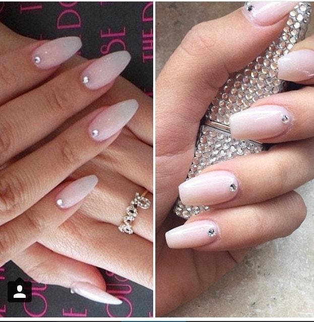 Press on nails Natural pink nails Swarovski crystals