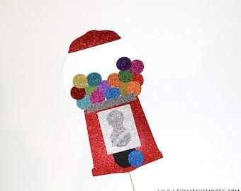 Photo Booth Props ~ GLITTER Gumball Machine ~ Rainbow Gumballs