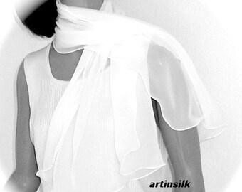 Pure White Scarf, White White Silk Scarf, Small Shoulder Wrap, Bridal Wedding Shawl, Optic White, Petite S XS, Pure Silk Chiffon, Artinsilk.