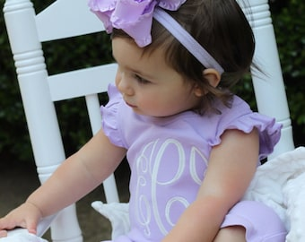 Lavender Bow, Light Purple Bow, Lavender Double Ruffle Bow with optional matching headband