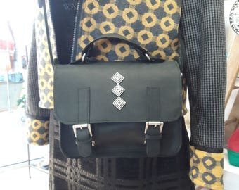 Mini shoulder bag position 100% very dark black and white leather
