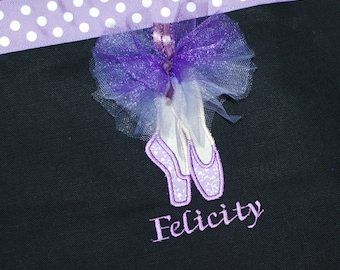 Girls personalized dance bag ballet bag wth applique dance shoes in purples