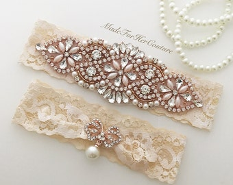 Rose Gold Wedding Garter Set, Rose Gold Garter Belt, Champagne Garter Set, Wedding garters, Garter Belts, Garters for wedding