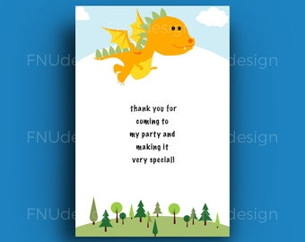 Dragon party thank you cards - Dragon birthday thank you cards
