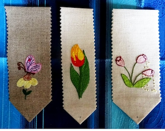 OOAK embroidery flower bookmark