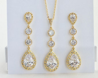 Long Gold Bridal Jewelry Set Long Gold Cubic Zirconia Set Long Gold Wedding Jewelry Set Gold Teardrop Set Long Gold Bridesmaid Jewelry Set