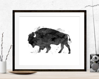 Black Ink Bison Print, Black Graphic Art, Printable Art, Bison Print, Bison Art, Wall Prints, Home Decor, Buffalo Print