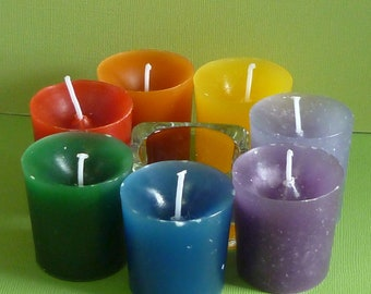 7 Chakra Votive Candle Set with Holder and Gift Box