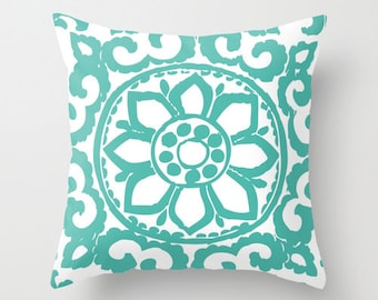 Art Deco Pillow  - Teal Turquoise Blue Abstract Flower Throw Pillow - Modern Home Decor - By Aldari Home