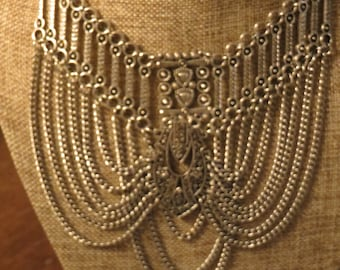 Vintage Retro Art Deco Silver Tone Intricate Tiered Chain Bib Draping Necklace  Incredible Detail Lobster Clasp