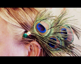 Cruelty-Free Peacock Feather Hair Clip