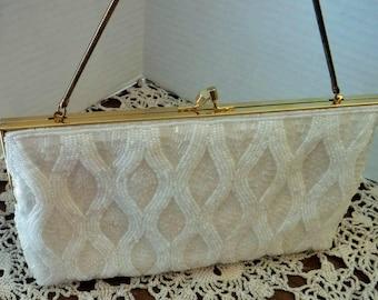 Gorgeous Mister Ernest Beaded Purse, Vintage Beaded Handbag, Ernest Beaded Purse, Made in HONG KONG, Bridal Purse, Prom Purse, Glass Beaded