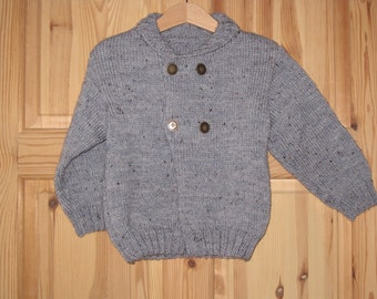 Boys knitted jacket / cardigan. Childs knitted jacket. Handknitted Boys sweater/jacket/cardigan. Baby Knit