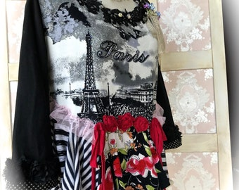 Romantique Paris Paris Ragdoll Collage Top Embellished Tattered Tee Layers Top Size  Med/Large