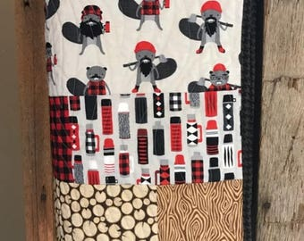 Burly Beavers- Patchwork Toddler/ Throw Quilt featuring beavers, plaid, logs and more - READY TO SHIP!