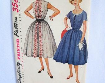 50s Dress Pattern, Vintage Dress Pattern, 50s Dress, Pattern, Simplicity, 4619, Summer Dress, Short Sleeve, 50s, Full Skirt, Gathered Skirt