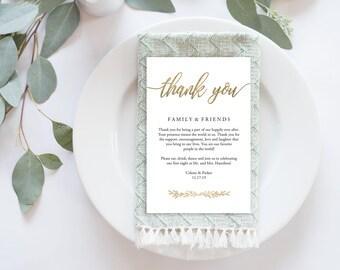 """Wedding Thank You Card, Gold Thank You Printable, Gold Wedding Calligraphy, Wedding Table Thank You, Agenda   4x6""""   No. EDN 5487"""