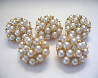 Vintage Pearl & Rhinestone Buttons ~ 5 Pearl