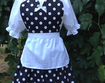 Lucy apron, retro apron polka dot apron, womens full apron, flirty apron, house warming hostess gift