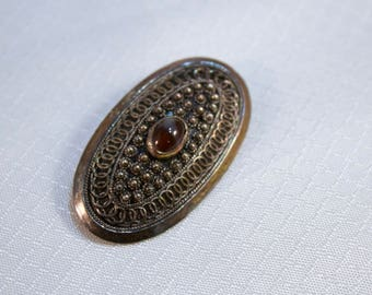 Vintage Victorian Styled Middle Eastern Sterling and Garnet Cats Eye Brooch