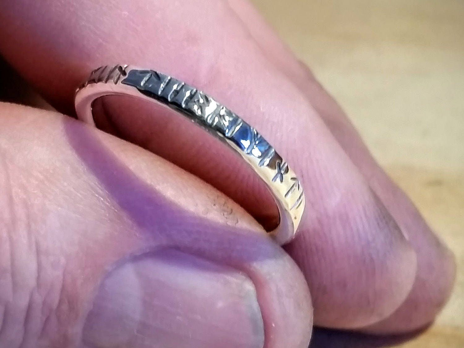 Silver ring with Viking Rune inscription 0.1 Inch wide