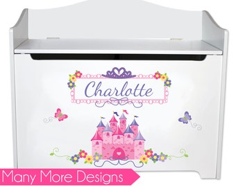 Girls Personalized Toy Box Kids Toybox Bench Toy Storage Toy Chest Toys Childs Princess Bin Boxes for Baby Girl Nursery Room benches BENC