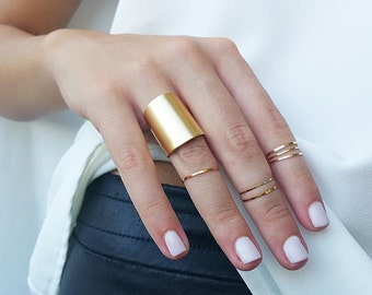 Gold ring set - Gold midi ring, Knuckle Rings, Gold stacking rings, Gold tube ring, Gold jewelry, Ring gift, Gold accessories