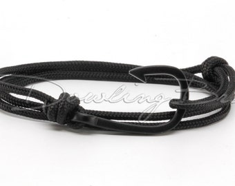 Matte Black Rope Fish Hook Bracelet for Men or Women
