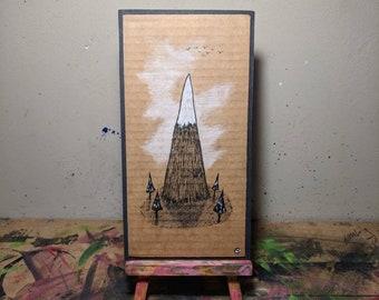 Cardboard Art - The Patch below the Mountain