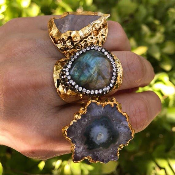 Statement Rings, Labradorite rings, Arrowhead Jasper Ring, amethyst geode Druzy Rings, boho jewelry