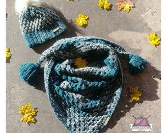 Handmade set, puff stitch beanie, shawl , oversized triangle scarf , crochet, winter fashion, faux fur pom